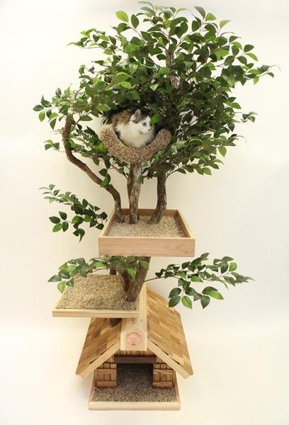 ハウス付きキャットツリー