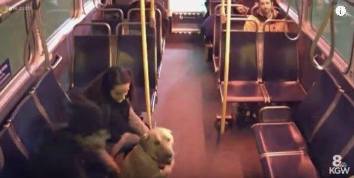 女性と話す男性と犬