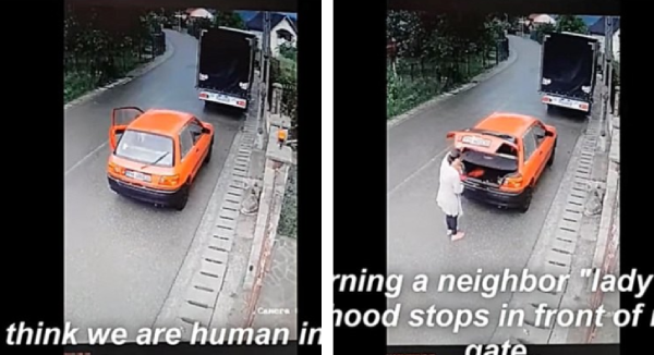 車を止める女性